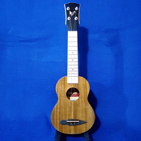 The Rebel Soprano Prototype All Solid Acacia with Maple Fretboard Ukulele w/ Bag i474