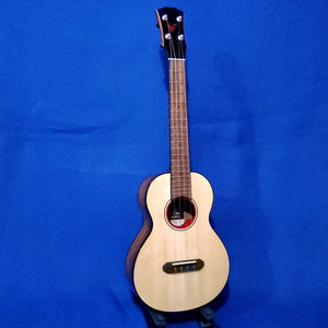The Rebel Tenor Pluto Limited Edition All Solid Spruce / Curly Acacia Red Obsidian Rosette Ukulele w/ Bag i478