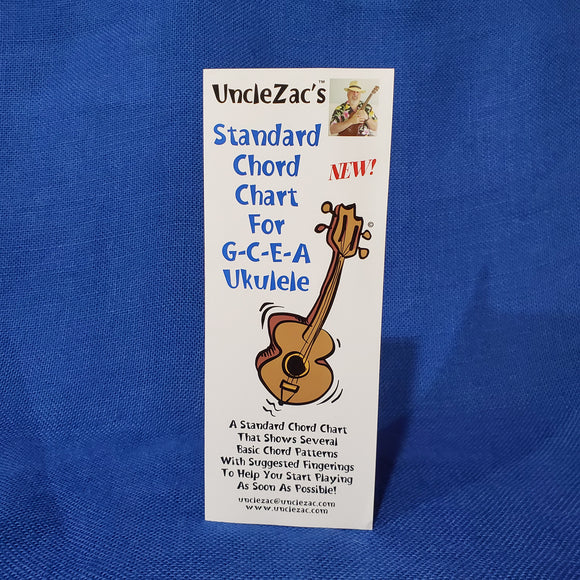 Ukulele Chord Chart:  Uncle Zac's Standard Chord Chart for GCEA Tuning
