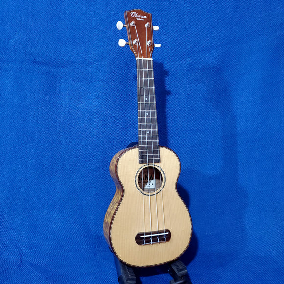 Ohana Soprano SK-70WG Blem Solid Spruce Top/ Laminate Willow Ukulele .992
