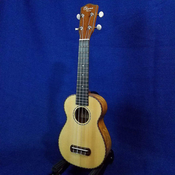 Ohana Soprano SK-70WG Blem Solid Spruce Top/ Laminate Willow Ukulele 881