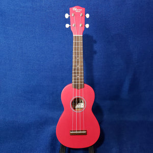 Ohana Soprano Starter Pack SK-10CR Candy Apple Hot Pink Red Ukulele Bag, Tuner, Button, Floral Strap, Chart