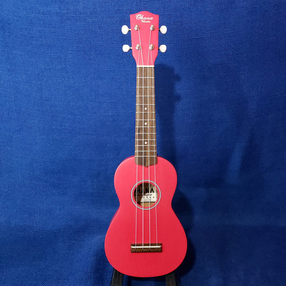 Ohana Soprano Starter Pack SK-10CR Candy Apple Hot Pink Red Ukulele Bag, Tuner, Button, Aztec Strap, Chart