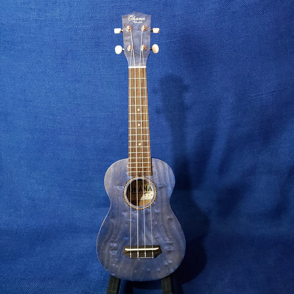 Ohana Soprano SK-15WBL Steel Blue Laminate Willow Ukulele M298