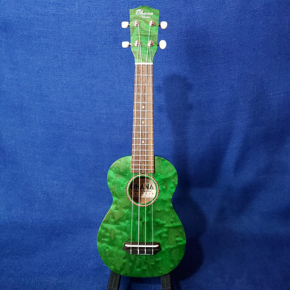 Ohana Soprano SK-15WGN Green Laminate Willow Ukulele M306