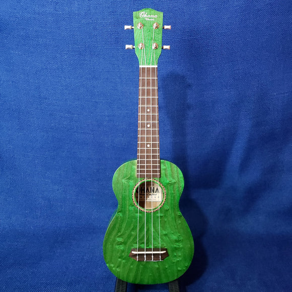 Ohana Soprano SK-15WGN Green Laminate Willow Ukulele M304
