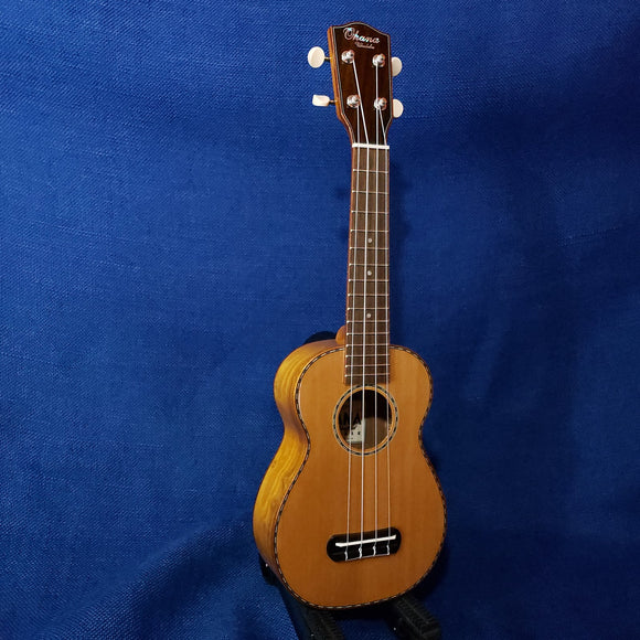Ohana Soprano SK-50WG Solid Cedar Top / Laminate Willow B&S Ukulele m859