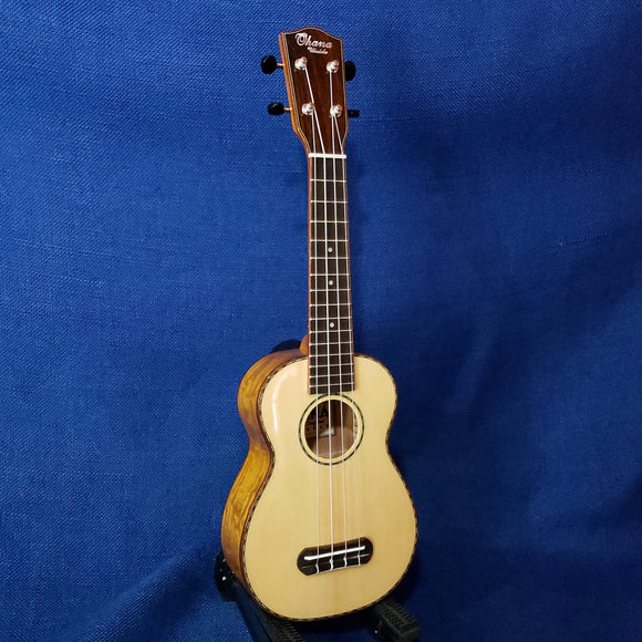 Ohana Soprano SK-70WG Solid Spruce Top/ Laminate Willow Ukulele m830