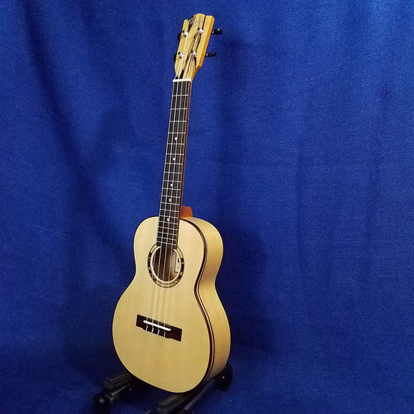 Ohana Tenor TK-70BWE Solid Spruce Top / Laminate Black & White Ebony Ukulele ~673