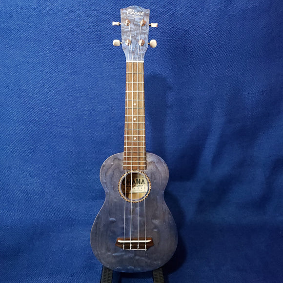 Ohana Soprano SK-15WBL Steel Blue Laminate Willow Ukulele M286