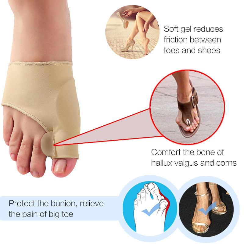 Big Toe Splint Separator Hallux Valgus Bunion Corrector Orthotic Feet Care Thumb Adjuster Correction Pedicure Socks Straightener|Foot Care Tool