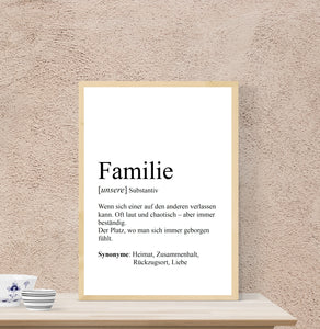 "Personalisierte Definition ""FAMILIE"", DIN A4, DIN A3"
