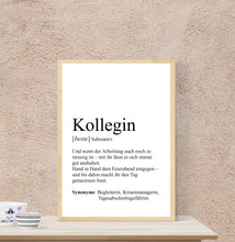 "Lade das Bild in den Galerie-Viewer, Personalisierte Definition ""KOLLEGE / KOLLEGIN"", DIN A4, DIN A3"