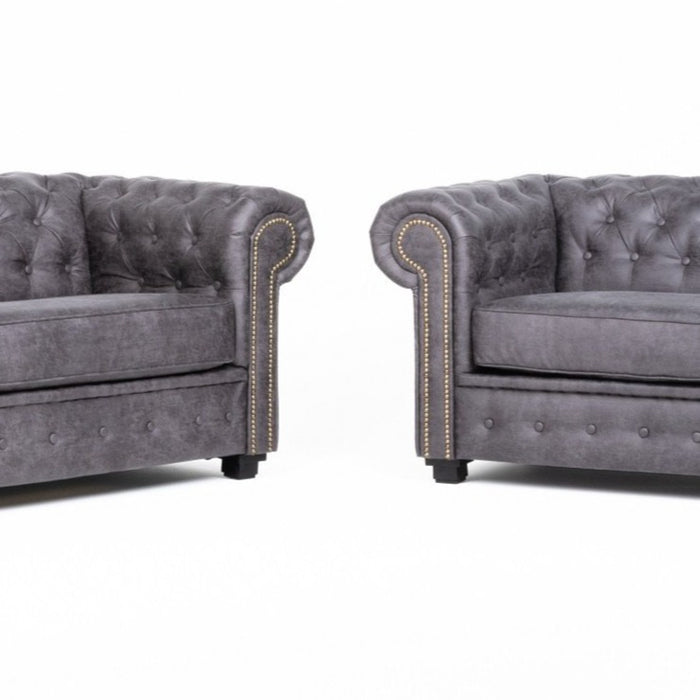 ASHTON CHESTERFIELD 3 SEATER AND 2 SEATER SOFA SET IN GREY FABRIC