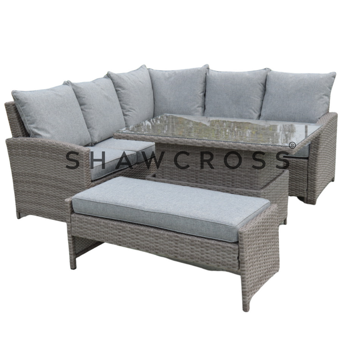 9 WEEK DELIVERY PRE-ORDER RATTAN GARDEN SET CORNER SOFA & BENCH INCLUDING LIFT 'N' RISE GLASS TOP TABLE £999 /£20 DEPOSIT SECURES