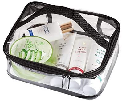 Clear Travel Cosmetic Bag Makeup Pouch, Train Case Organizer with Top Handle Medium