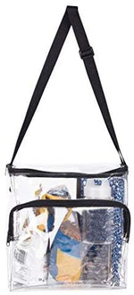 Large Lunch Bag Stadium Security Approved Clear Lunch Box with Adjustable Strap and Front Zippered Pocket Thick - Bags for less us