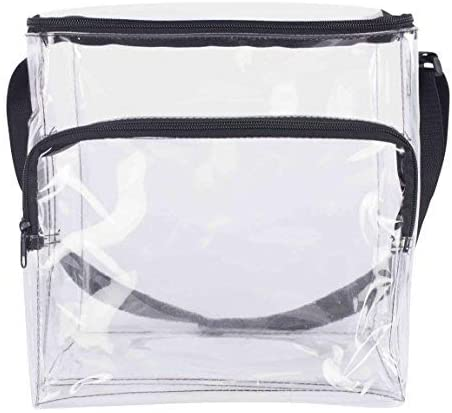 Large Lunch Bag Stadium Security Approved Clear Lunch Box with Adjustable Strap and Front Zippered Pocket Thick