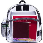Vinyl Security Clear Bag Stadium Approved Lunch Transparent Backpack Bookbag Travel Rucksack with Black Trim