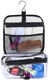 Clear Travel Carry Cosmetic Bag for Makeup & Toiletries Organizer with Hook for Hanging