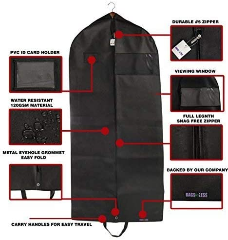 Bags for Less Suit and Dress Cover Garment Bag Black for Travel Carry On and Clothing Storage Closet Hanging Carrier 26 inch x 60 inch with 5 inch Gusset Folding with Carry Handles