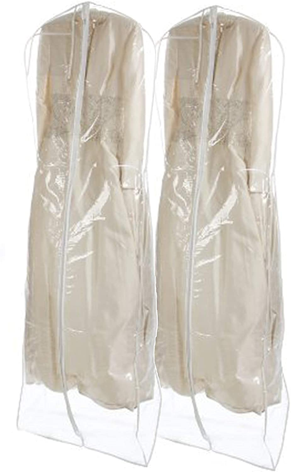 Bags for Less Bridal Wedding Gown Dress Garment Bag, Clear (2 Pack)