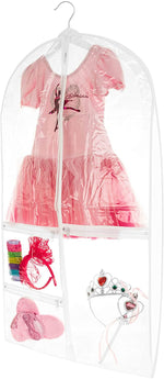 Bags for Less Small Clear Dance Costume Garment Bag for Kids with Durable Diagonal Zipper Transparent