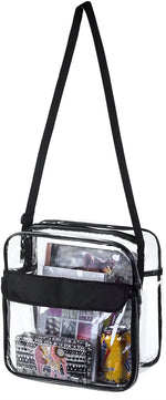 Large Clear Messenger Crossbody Bag with Adjustable Shoulder Strap Stadium Approved (Pack 1) - Bags for less us