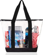 Clear Tote Bags for Work, Beach, Stadium, Security Approved With Zipper Closure - Bags for less us