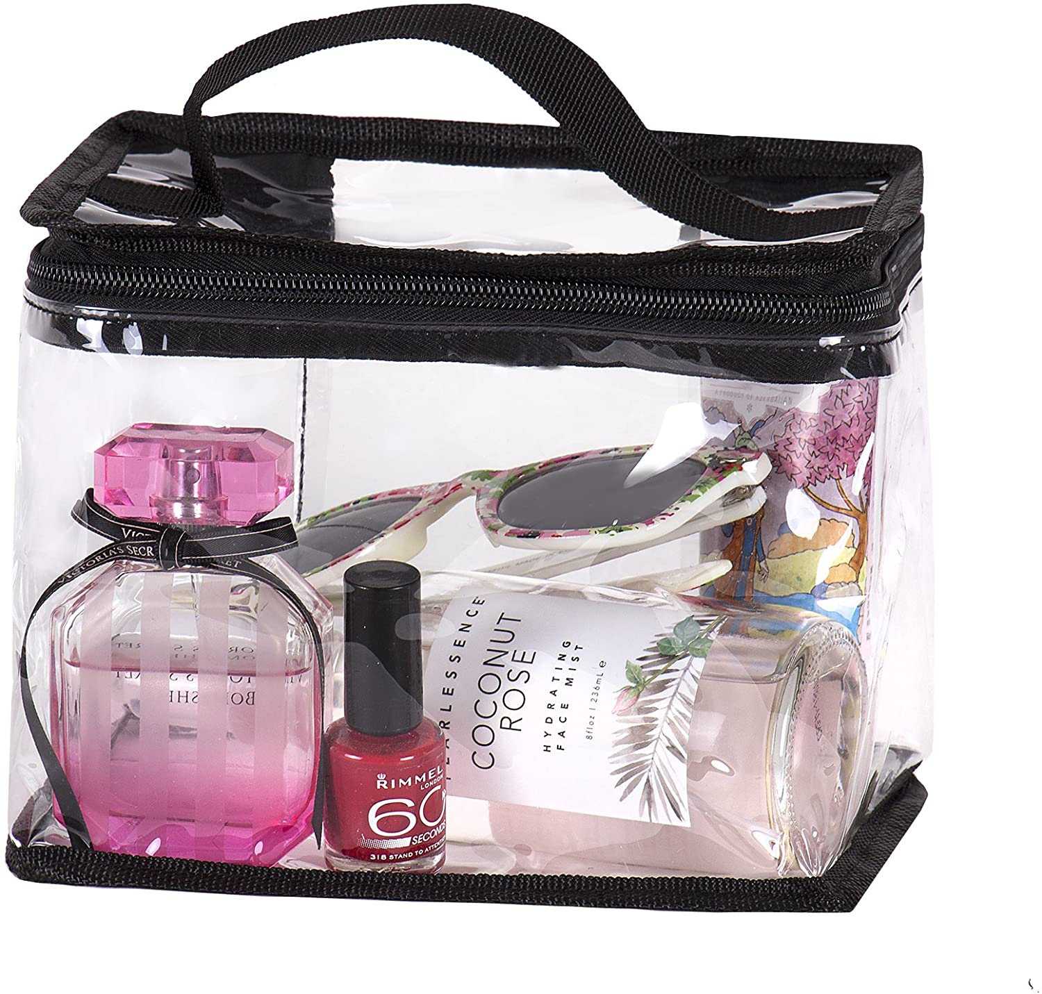 Clear Travel Train Bag for Lunch Case Carry On or Cosmetics Makeup Toiletries with Top HandleLarge