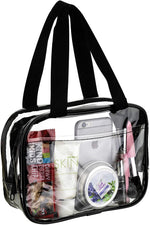 Small Clear Handbag Purse Great for Work, Events, Makeup, Cosmetics NFL Stadium Approved Sturdy Transparent