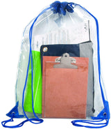 "Bags for Less Clear Drawstring Bag, Small Clear Bag For Stadiums, Sporting Events - 14"" x 17"" (Clear/Black) - Bags for less us"