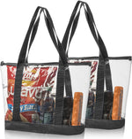Bags for Less Set Clear Stadium Security Travel & Gym Zippered Tote Bag Sturdy PVC Construction, Black Trim - Bags for less us
