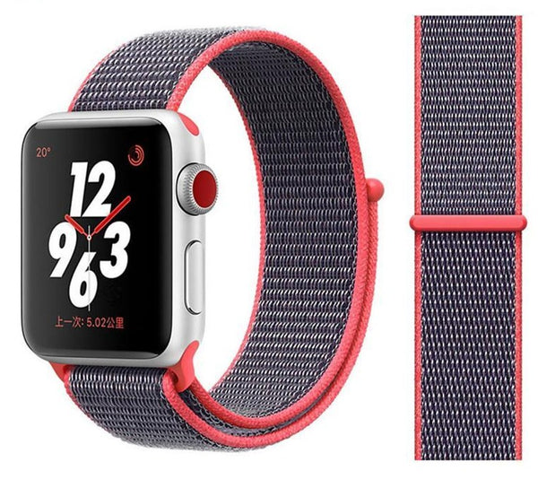 Nylon Sport Loop for Apple Watch – Electronic Pink