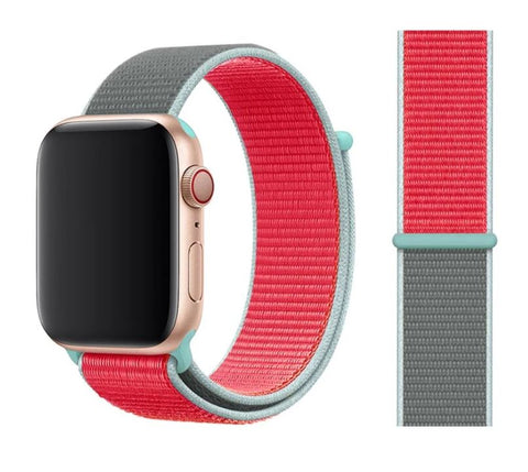 Nylon Sport Loop for Apple Watch – Light Blue Red