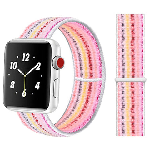 Nylon Sport Loop for Apple Watch – White Rainbow