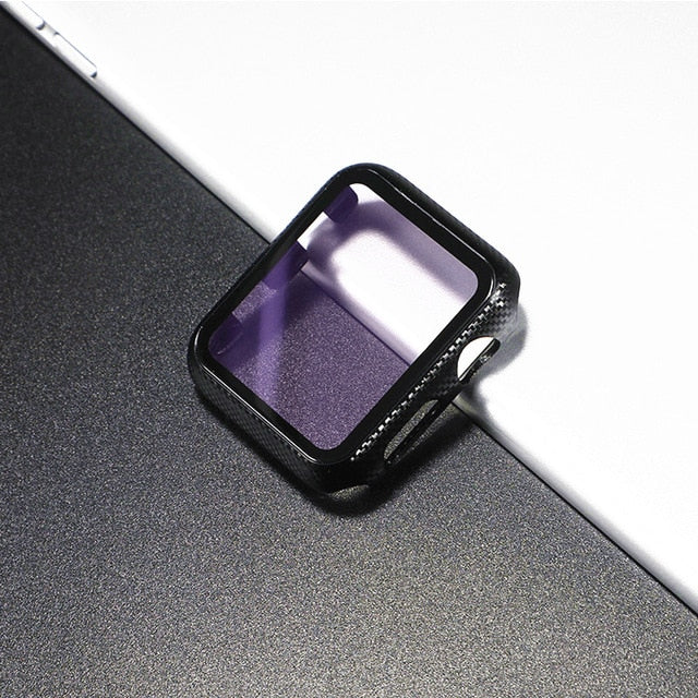 Glass Apple Watch Screen Protector - Purple Carbon