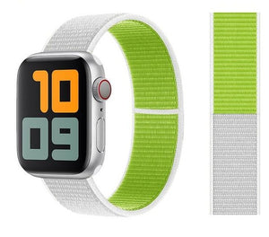 Nylon Sport Loop for Apple Watch – White Green