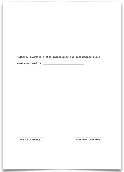 «Matthieu Laurette's 2014 bookkeeping and accountancy bills were purchased by ____________________________.»