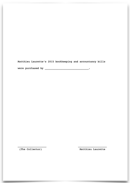 «Matthieu Laurette's 2015 online bookkeeping and accountancy bills were purchased by ____________________________.»