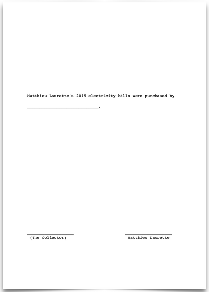 «Matthieu Laurette's 2015 electricity bills were purchased by _____________________.»