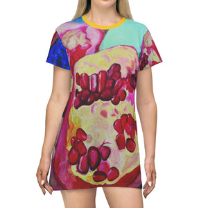 "All Over Print T-Shirt Dress: ""Everyday Jewels"""