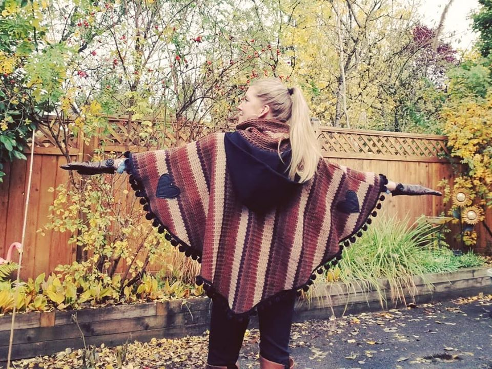 Hooded Pom Pom Poncho in 'Mod Retro' Crochet Sweater knit