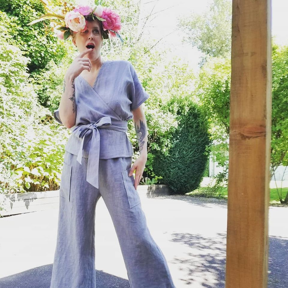 The New FREEDOM WRAP TOP in 100% Dove Linen and the New FREEDOM FLOOD PANT in 100% Dove Linen
