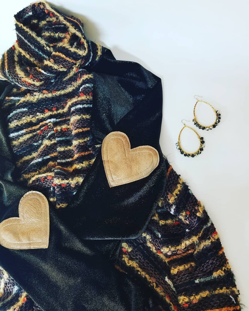 Patchwork Mila Sweater in Earth Slub sweater knit with black and gold velvet sleeves and bronze leather signature heart elbow patches along with our Pegasus earrings in black agate gemstones