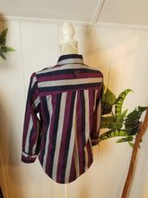Load image into Gallery viewer, SAXON SHIRT in 'Bracelet' Sleeve Length | Blue, Grey + Purple Stripe | Size S/6