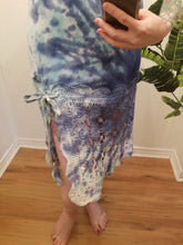 Load image into Gallery viewer, Starburst Dress in Blue/Teal Organic Bamboo + Vintage Crochet Lace | Size S