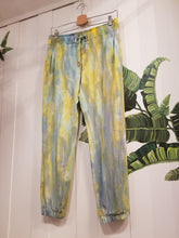 Load image into Gallery viewer, Envy Jogger Pants in Yellow/Teal Organic Bamboo Terry Tie Dye | Size S