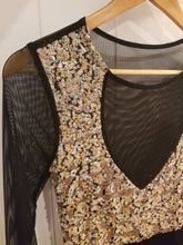 Load image into Gallery viewer, SEQUIN PARTY DRESS | Gold Sequin Bodice + Sheer Panels | Size S/6