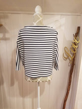 Load image into Gallery viewer, Reversible Boatneck or Keyhole Top in 'Midnight Blue + White Stripe' Stretch Knit